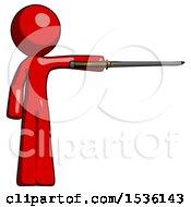 Red Design Mascot Man Standing With Ninja Sword Katana Pointing Right
