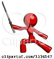 Red Design Mascot Woman With Ninja Sword Katana In Defense Pose