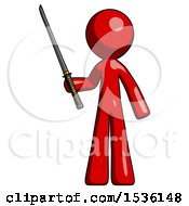 Red Design Mascot Man Standing Up With Ninja Sword Katana