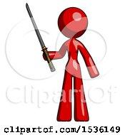Red Design Mascot Woman Standing Up With Ninja Sword Katana