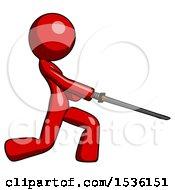 Red Design Mascot Woman With Ninja Sword Katana Slicing Or Striking Something