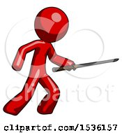 Red Design Mascot Man Stabbing With Ninja Sword Katana