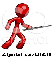 Red Design Mascot Woman Stabbing With Ninja Sword Katana