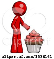 Red Design Mascot Man With Giant Cupcake Dessert