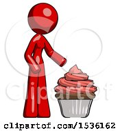 Red Design Mascot Woman With Giant Cupcake Dessert