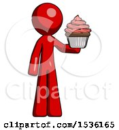 Red Design Mascot Man Presenting Pink Cupcake To Viewer