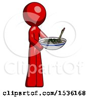 Red Design Mascot Man Holding Noodles Offering To Viewer