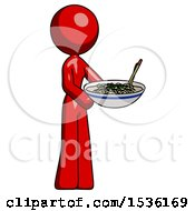 Red Design Mascot Woman Holding Noodles Offering To Viewer
