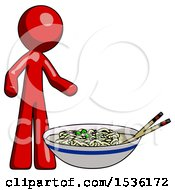 Red Design Mascot Man And Noodle Bowl Giant Soup Restaraunt Concept