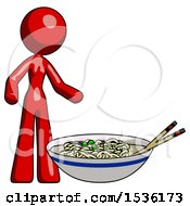 Red Design Mascot Woman And Noodle Bowl Giant Soup Restaraunt Concept