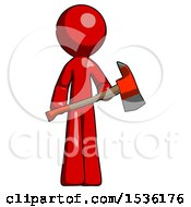 Red Design Mascot Man Holding Red Fire Fighters Ax