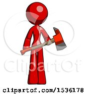 Red Design Mascot Woman Holding Red Fire Fighters Ax