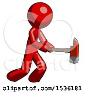 Red Design Mascot Man With Ax Hitting Striking Or Chopping