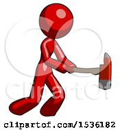 Red Design Mascot Woman With Ax Hitting Striking Or Chopping