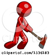 Red Design Mascot Man Striking With A Red Firefighters Ax
