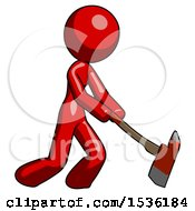 Red Design Mascot Woman Striking With A Red Firefighters Ax