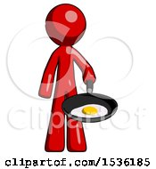 Red Design Mascot Man Frying Egg In Pan Or Wok