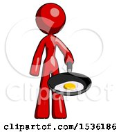 Red Design Mascot Woman Frying Egg In Pan Or Wok