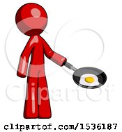 Red Design Mascot Man Frying Egg In Pan Or Wok Facing Right