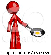 Red Design Mascot Woman Frying Egg In Pan Or Wok Facing Right