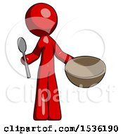 Red Design Mascot Man With Empty Bowl And Spoon Ready To Make Something