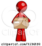 Red Design Mascot Man Holding Box Sent Or Arriving In Mail