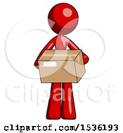Red Design Mascot Woman Holding Box Sent Or Arriving In Mail