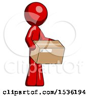 Red Design Mascot Man Holding Package To Send Or Recieve In Mail