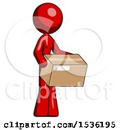 Red Design Mascot Woman Holding Package To Send Or Recieve In Mail