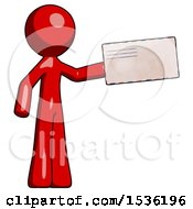 Red Design Mascot Man Holding Large Envelope