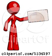 Red Design Mascot Woman Holding Large Envelope