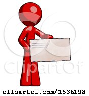 Red Design Mascot Man Presenting Large Envelope