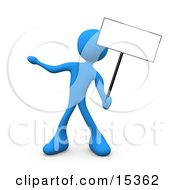 Blue Person Standing And Holding Up A Blank Sign For An Advertisement