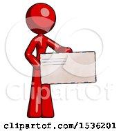 Red Design Mascot Woman Presenting Large Envelope