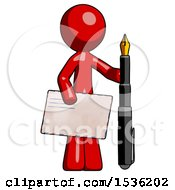 Red Design Mascot Man Holding Large Envelope And Calligraphy Pen