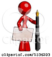 Red Design Mascot Woman Holding Large Envelope And Calligraphy Pen