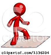 Red Design Mascot Man On Postage Envelope Surfing