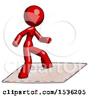 Red Design Mascot Woman On Postage Envelope Surfing