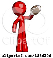 Red Design Mascot Man Holding Football Up