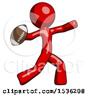 Red Design Mascot Man Throwing Football