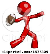 Red Design Mascot Woman Throwing Football