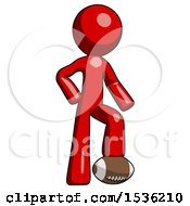 Red Design Mascot Man Standing With Foot On Football