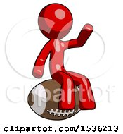 Red Design Mascot Man Sitting On Giant Football