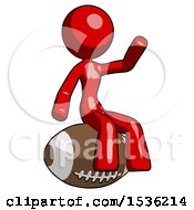 Red Design Mascot Woman Sitting On Giant Football