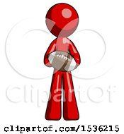 Red Design Mascot Man Giving Football To You