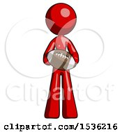Red Design Mascot Woman Giving Football To You