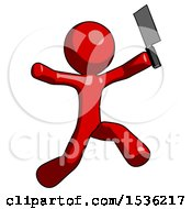Red Design Mascot Man Psycho Running With Meat Cleaver