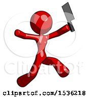 Red Design Mascot Woman Psycho Running With Meat Cleaver