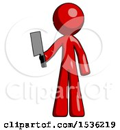 Red Design Mascot Man Holding Meat Cleaver