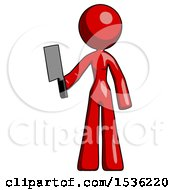 Red Design Mascot Woman Holding Meat Cleaver